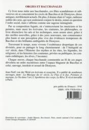 Orgies et bacchanales ; triomphe de l'excès - 4ème de couverture - Format classique