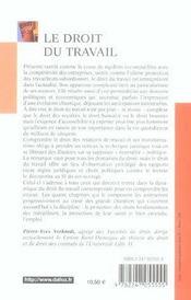 Le droit du travail - 1ere ed. - 4ème de couverture - Format classique