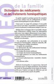 Dictionnaire des médicaments et des traitements homéopathiques - 4ème de couverture - Format classique
