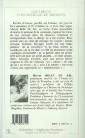Les Adieux D'Un Sociologue Heureux ; Traces D'Un Passage - 4ème de couverture - Format classique