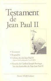 Testament De Jean Paul Ii - Intérieur - Format classique