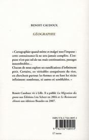 Géographie - 4ème de couverture - Format classique