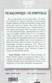 Vie maconnique, vie spirituelle - 4ème de couverture - Format classique