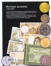 Histoire Du Franc - 4ème de couverture - Format classique