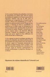 Formation Relations Professionnelles Et Syndicalisme A - 4ème de couverture - Format classique