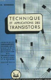 Technique Des Applications Des Transistors - Couverture - Format classique