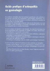 Guide Pratique D Osteopathie En Gynecolo - 4ème de couverture - Format classique