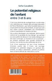 Le potentiel religieux de entre 3 et 6 ans ; pédagogie religieuse Maria Montessori - 4ème de couverture - Format classique