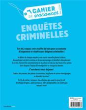 Cahier de vacances ; enquêtes criminelles - 4ème de couverture - Format classique
