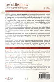 Droit civil, les obligations t.3 ; le rapport d'obligation (5e édition) - 4ème de couverture - Format classique