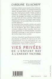 Vies privées ; de l'enfant roi à l'enfant victime - 4ème de couverture - Format classique