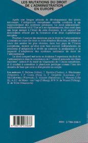 Les Mutations Du Droit De L'Administration En Europe ; Pluralisme Et Convergences - 4ème de couverture - Format classique