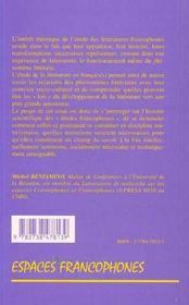 La francophonie littéraire ; essai pour une théorie - 4ème de couverture - Format classique
