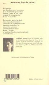Automne Dans Le Miroir - 4ème de couverture - Format classique