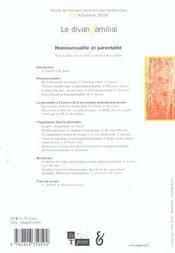Le Divan Familial N 13 - Homosexualite Et Parentalite - 4ème de couverture - Format classique