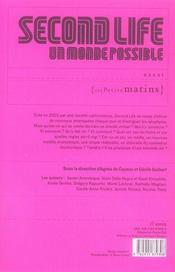 Second life,un monde possible (+ cahier photos) - 4ème de couverture - Format classique