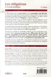 Droit civil, les obligations t.2 ; le fait juridique (12e édition) - 4ème de couverture - Format classique