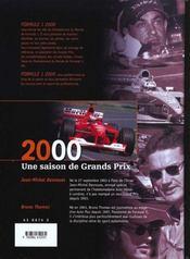 Formule 1 2000 - 4ème de couverture - Format classique