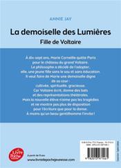 La demoiselle des Lumières ; fille de Voltaire - 4ème de couverture - Format classique