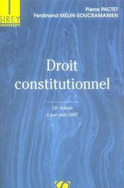 Droit Constitutionnel (26e Edition) - Intérieur - Format classique