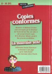 Copies conformes ; la mauvaise note ; 8/10 ans - 4ème de couverture - Format classique