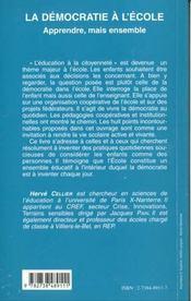 La Democratie A L'Ecole ; Apprendre Mais Ensemble - 4ème de couverture - Format classique