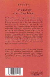 Un Chocolat Chez Hanselmann - 4ème de couverture - Format classique