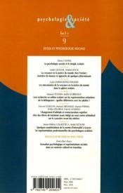 Ecole Et Psychologie Sociale - 4ème de couverture - Format classique