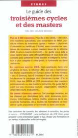Le guides des troisièmes cycles et des masters - 4ème de couverture - Format classique