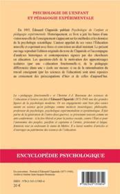 Psychologie de l'enfant et pédagogie expérimentale (1905) - 4ème de couverture - Format classique