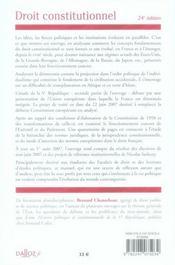Droit Constitutionnel (24e Edition) - 4ème de couverture - Format classique