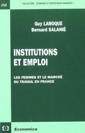 Institutions Et Emploi ; Les Femmes Et Le Marche Du Travail En France - Intérieur - Format classique
