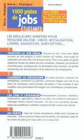 1000 pistes de jobs etudiants - 4ème de couverture - Format classique