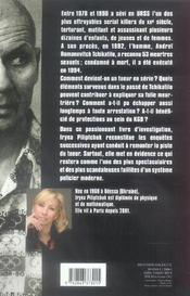 Tchikatilo ; camarade serial killer - 4ème de couverture - Format classique