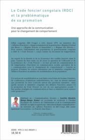 Le code foncier congolais (RDC) et la problématique de sa promotion ; une approche de la communication pour le changement de comportement - 4ème de couverture - Format classique