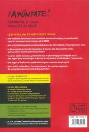 APUNTATE ; espagnol ; 1re (édition 2006) - 4ème de couverture - Format classique