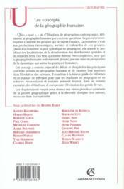 Les concepts de la geographie humaine - 5e ed. (5e édition) - 4ème de couverture - Format classique