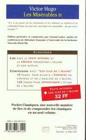 Les Misérables t.3 - 4ème de couverture - Format classique