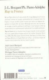 Rap ta france - les rappeurs francais prennent la parole - 4ème de couverture - Format classique