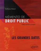 Mémento de droit public ; les grandes dates - Intérieur - Format classique
