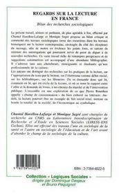 Regards Sur La Lecture En France - 4ème de couverture - Format classique