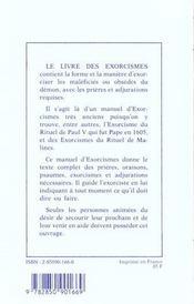 Rituel de magie blanche t.6 ; le livre des exorcismes - 4ème de couverture - Format classique