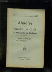 Annales De La Faculte De Droit De L Universite De Bordeaux. N° 1 1954. Serie Economique. - Couverture - Format classique