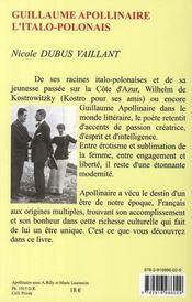 Guillaume Apollinaire, l'italo-polonais - 4ème de couverture - Format classique