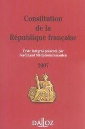 Constitution De La Republique Francaise (edition 2007) - Intérieur - Format classique