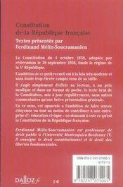 Constitution De La Republique Francaise (edition 2007) - 4ème de couverture - Format classique