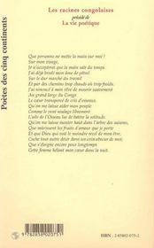 Racines Congolaises Et La Vie Poetique - 4ème de couverture - Format classique
