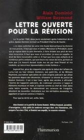 Lettre Ouverte Pour La Revision - 4ème de couverture - Format classique