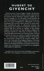 Hubert de givenchy - 4ème de couverture - Format classique