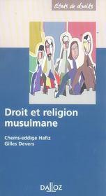 Droit et religion musulmane - 1ere ed. (1re édition) - Intérieur - Format classique